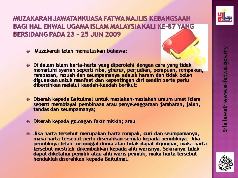 fatwa mengenai harta haram fitrah islami onlinefatwa mengenai harta haram